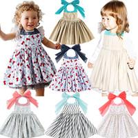 halsschürze groihandel-Kids Girl Printed Schürze Kleid 5+ Striped Hang Neck Schürze Belüftung Bow Strap Kleider Kostüm für Kleinkinder Mädchen Kostüm TUTU Schürze