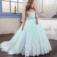 Wholesale evening wedding clothes for sale - Group buy New Lace Flower Girls Dress For Wedding Evening Teenager Girls Christmas Party Ball Gown Clothing Kids School Ceremony Dresses J190619