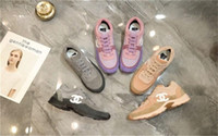 ingrosso punte rotonde-Sneakers da donna casual oversize, sneakers da trail in pelle di vitello iconica in pelle appartamenti comode sneakers oversize taglia 35-42