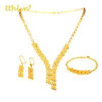 ingrosso collana dorata degli orecchini del braccialetto-Ethlyn Geometric Necklace / Earrings / Bracelet 3Pcs Luxury Bright Golden Women Jewelry Set Africa / Medio Oriente / Etiopia Matrimonio S271