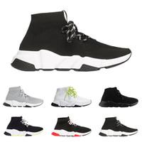 parıltılı bağcıklar toptan satış-2019 Balenciaga ayakkabı tasarımcısı Speed Trainer lüks sneakers en kaliteli siyah beyaz glitter yeşil moda çorap çizmeler nefes koşucu rahat ayakkabılar