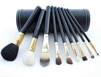 cepillo de madera para cimientos al por mayor-9 Unids Set de Pinceles de Maquillaje de Viaje Belleza Profesional Mango De Madera Fundación Labios Cosméticos Pincel de maquillaje con Holder Cup Case