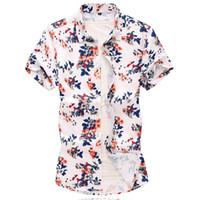 düğme bluzları kısa kollu toptan satış-Çiçek gömlek Erkekler Rahat Yaz Baskılı Düğme Kısa Kollu Hawaii Gömlek Üst Bluz Erkekler Rahat camisas de hombre Yeni