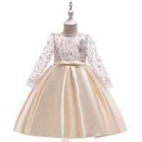 Wholesale long christening gowns for baby girls for sale - Group buy Princess Flower Girls Dresses Long Issusion Sleeves Baby Kids Toddler Dresses for Wedding Birthday Party Girls Tutu Dresses