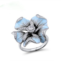 Wholesale fine jewelry wedding rings resale online - Fashion design ring ladies blue color flower white color crystal zircon fine classical wedding ring jewelry Q5M350