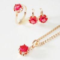 conjunto de brinco de colar de rosa vermelha venda por atacado-Conjuntos de Jóias de casamento Escritório Estilo Rosa 585 Cor de Ouro Mulheres Jóias Rodada Red Cubic Zirconia Anel / Brinco / Conjuntos de Colar