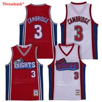 numéro de maillot de basketball achat en gros de-Jersey de Cambridge # 3 Like Mike LA Knights Maillots de Basket-ball de Cinéma Blancs Stichés Nom Numéro Logo