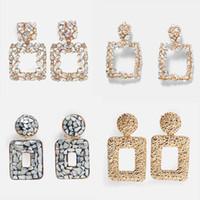 ingrosso resina sentita-JUST FEEL 2019 New Bohemian Resin Stone Ciondola l'orecchino per le donne Statement Trendy Elegant Wedding Jewelry Drop Orecchino Party