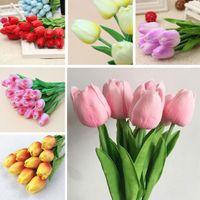 düğün buketleri laleler toptan satış-31 Adet Gerçek Dokunmatik Yapay İpek Lale Çiçekler Düğün Çiçek Buketi Yapay Çiçek Ev Dekorasyon Parti için