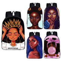 Wholesale wearing girls cartoon resale online - Multi Function Student Backpack Design Kids High Capacity Afro Cartoon Girls Schoolbag Kids Wear Resistant Travel Storage Bag