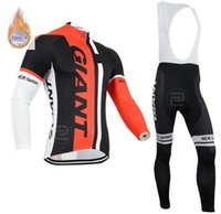 Wholesale giant long sleeve fleece cycling jersey for sale - Group buy GIANT team Cycling mens long sleeves Winter Thermal Fleece jersey bib pants sets Outdoors Sports Biking clothes