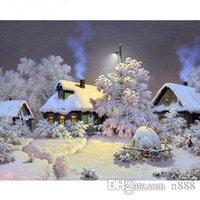 Wholesale painting snow landscape for sale - Group buy Hand painted HD Print Winter Snow Landscape Art oil painting On Canvas Wall Art Home Deco Multi Sizes l216