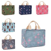 Wholesale kitchens products resale online - 6styles Portable flamingo foldable lunch bags flap tote box bag kitchen storage bags outdoor travel picnic thermal bag carry bags FFA2296