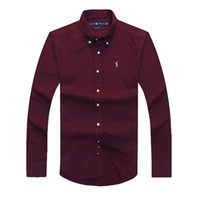 pferde hemden mode großhandel-Herren Langarm-Polo-Shirt Herbst Frühling Dress Shirt Herren Casual Polo kleines Pferd Hemden Mode Social Shirt Business Langarm