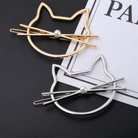 Wholesale types hairpins for sale - Group buy 1 Korean Type Fashionable Jewelry Cute Cutout Cat Shaped Pearl Clip Female Headwear Bobby Pin Hairpin Hair Accessories