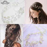 Wholesale christmas hair accessory handmade resale online - Fashion Wedding Headdress For Bride Flower Crystal Pearl Headband Hair Belt Ornaments Handmade Wedding Crown Accessories
