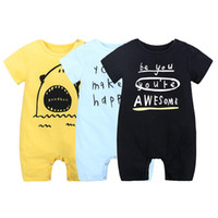 Wholesale boys shark sleeve for sale - Group buy Cute Lettters Ins Newborn clothing Shark Baby boy girl clothes Cotton Jumpsuit Hot selling New Arrival