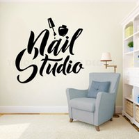 estúdios de unhas venda por atacado-Pregue Wall Art polonês Etiqueta Beauty Salon Decor Manicure Pedicure Vinyl Mural Logo Nail Studio parede do Windows Decal