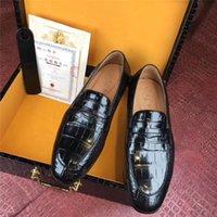echtes krokodilleder großhandel-Lust auf authentische Crocodile Belly Skin Businessmen's Dress Schuhe echte echte Alligator Leder männlich schwarz Slip-on Schuhe für Anzüge
