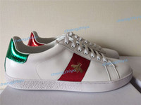 zapatos de serpiente al por mayor-Nuevos zapatos de diseñador ACE bordado blanco tigre abeja serpiente zapatos de cuero genuino diseñador zapatilla de deporte para hombre mujer zapatos casuales tamaño 35-46