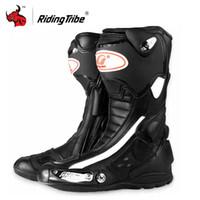 ingrosso motocicletta ad alta velocità-Riding Tribe Stivali da moto Uomo Scarpa da moto Stivali da equitazione da moto Speed PU Pelle High Motocross Nero