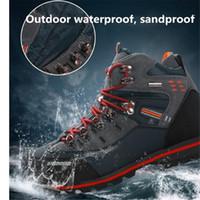erkekler için kamp ayakkabıları toptan satış-Erkek Açık Ayakkabı Mounchain Erkekler Yürüyüş Botları Su Geçirmez Deri Ayakkabı Tırmanma Balıkçılık Kamp Trekking Ayakkabı Spor ve Açık Ayakkabı