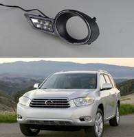 lumières de montagne achat en gros de-Lumière du jour de voiture 1Pair imperméable super lumineux LED DRL feux diurnes pour Toyota Highlander 2009 2010 2011
