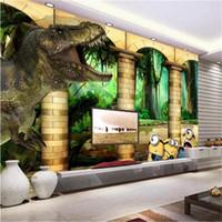 Wholesale dinosaur wallpaper mural for sale - Group buy custom size d wallpaper photo wallpaper living room kids room mural dinosaur forest pillar d picture sofa TV backdrop wallpaper sticker