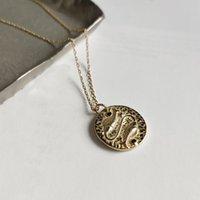 münzenscheibe halskette großhandel-925 Sterlingsilber-Gold Constellation Zodiac Charm Münze Halskette Himmlischer Schmuck Minimalist Runde Disc Medaillon-Halskette