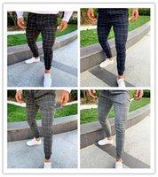 мужские брюки новые поступления оптовых-Модные клетчатые мужские дизайнерские брюки с набивным рисунком Мужские повседневные брюки-карандаш
