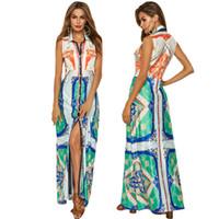 elbise kalemi toptan satış-Bucrsatn Ücretsiz Shippin2019 Yeni dış ticaret kadın tatil plaj etek seksi hırka elbise büyük kalem baskı elbise