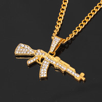 Wholesale gun heart pendant for sale - Group buy Alloy AK47 Gun Pendant Necklace Iced Out Rhinestone With Hip Hop Miami Cuban Chain Gold Silver Color Men Women Jewelry