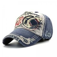 110715e2d18 Wholesale fitted baseball caps online - Shark Embroidery Baseball Cap Fitted  Cartoon Caps For Men Women