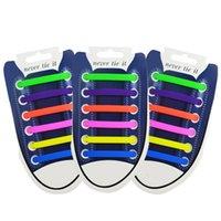 cordones elásticos para zapatillas de running. al por mayor-12pcs / nuevo paquete unisex adulto joven atlético que se aplicarán de lazada elástica de silicona atan Todas las zapatillas de deporte de la correa de ajuste 13