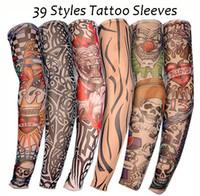 ingrosso calze del braccio dei manicotti del tatuaggio-39 Styles 2019 Outdoor Ciclismo Temporaneo Manicotti per uomo Donna Anti-UV Protezione solare Calze senza maniche Elastico senza maniche Novità H512F