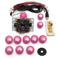 ingrosso parti di giochi arcade-I giocatori doppi rosa di gioco fai da te gioco arcade Console Set Kit Encoder Parti di ricambio USB a PC doppio joystick e pulsanti
