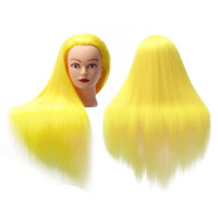 Wholesale training head long hair resale online - Professional Mannequin Head With Long Synthetic Hair For Barber Hairstyles Training Manikin Heads With Clamp And Scissors Dummy
