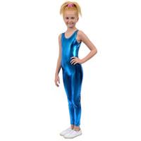 meias pretas para crianças venda por atacado-Crianças One Piece Tank Unitard Meninas Lycra Ballet Sem Mangas Preto Brilhante Macacão Apertado Unitards Trajes Meninos de Dança Frete Grátis