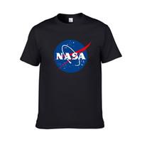 camisa gráfica branca dos homens s venda por atacado-2019 branco NASA Espaço tshirt Retro Harajuku Homens Camisas de Algodão gráficos NASA t camisa Ocasional branco camisa preta homens tee