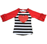 16552cf09 Wholesale baby girls clothes raglan top V-day raglan girls black stripes  heart print top kids icing ruffle sleeve Valentine top