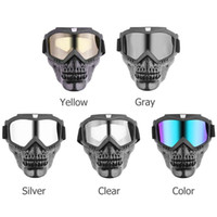 Wholesale goggles for open face helmet for sale - Group buy VODOOL Motorcyle Skull Modular Mask Detachable Goggles Motorcoss Glasses for Open Face Motorcycle Half Helmet
