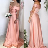 Wholesale maternity evening dresses ivory resale online - Off The Shoulder Satin Long Evening Dresses Ruched A Line Floor Length Guest Maid Of Honor Bridesmaid Dresses BM0901