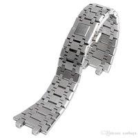 kelebek askısı saat bandı toptan satış-Yüksek Kalite 28mm Genişlik Gümüş Paslanmaz Çelik Kordonlu Saat Değiştirme AP Saatler Kelebek Bilezik Toka Katı Sapanlar