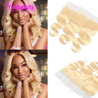 frontales de encaje al por mayor-Indian Virgin Hair Lace Frontal 13X4 Lace Size Ear To Ear Body Wave Blonde 613# Color Body Wave 100% Human Hair 13 By 4 Frontals
