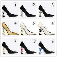 schwarze satinkleidschuhe großhandel-2019 Designer High Heels Schaum Schuhe Spitz Hochzeit Abend Prom Party Kleider Schuh Für Frauen Sexy Damen Mode Schwarz Pumps Schuhe