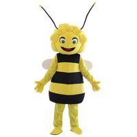 ingrosso costumi adulti ape-Maya the bee Mascot Costumes Animated smile bee Girls Cospaly Cartoon mascotte Personaggio adulto Halloween party Costume di Carnevale