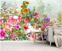 Wholesale bedroom paintings photos resale online - 3d wallpaper custom photo Fresh hand painted watercolor cartoon flowers idyllic background home decor d wall murals wallpaper for walls d