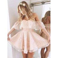 Wholesale lace cocktail dress online - Lovely Off Shoulder Lace Pink Homecoming Dresses Little Short A Line Pleats Mini Cocktail Gowns Backless Short Prom Dresses