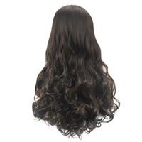 kıvırcık peruk fiyatları toptan satış-Fabrika fiyat 1 adet Kadınlar Moda Lady Saç Yumuşak Sentetik Saç Uzun Peruk Dalga Kıvırcık 65 cm Peruk Standı Stoklanan Feb11