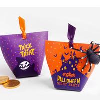 mini bolsa de regalo naranja al por mayor-20pcs / lot New Orange Purple Castle Ghosts Funny Halloween Series Mini Candy Gift Bag 12x10cm